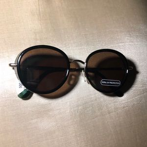 UO Black Round Metal Blinder Sunglasses
